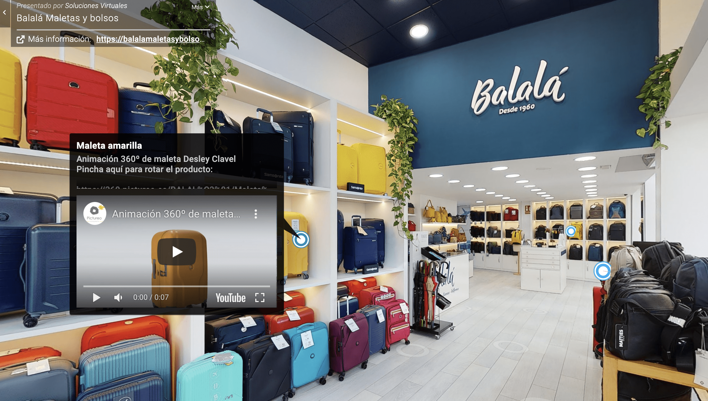 Etiquetas interactivas en recorrido virtual 3D Alicante tienda Balalá
